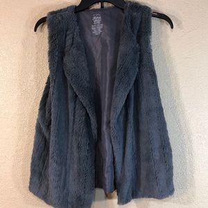 Faded Glory Vest Gray Soft Shiny Size XL 14-16